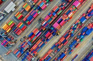 Aerial View Of Colourful Shipping Containers