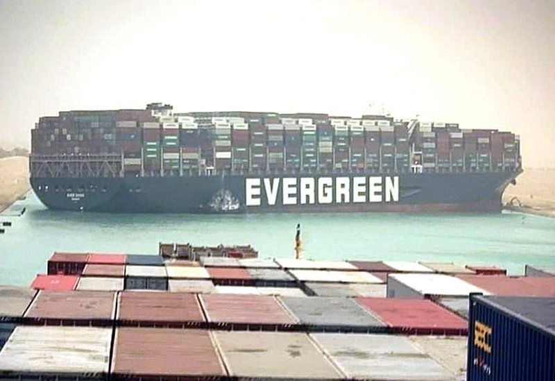 Container ship blocks the Suez Canal in Egypt – One of the worlds busiest trade routes