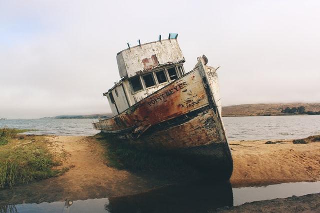 cargo ship abandoned on beach